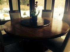 Industrial modern lazy susan on round table