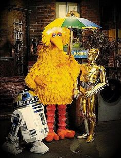 A big bird and two droids walk into a bar...