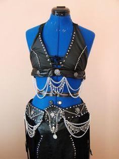 Sarah Nicola Johnson  Colchester, England United Kingdom  'Biker Chick' Gothic belly dance costume