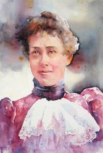 Lizzie In Lace by Yvonne Joyner Watercolor ~ 28 in. x 22 in. www.yvonnejoynerstudio.com