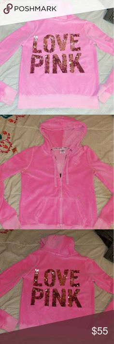 Victoria's Secret pink sparkle velour hoodie EUC This Victoria's Secret pink sparkle velour hoodie is in almost brand new condition. It was too small for me and I only wore it twice. Euc. So stinkin adorable. Victoria's Secret Tops Sweatshirts & Hoodies
