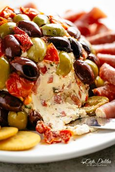 Cheese Ball Antipasto is a perfect centre piece for any occasion! Full of antipasto ingredients on the inside and covered in them on the outside! Finger Food Appetizers, Yummy Appetizers, Appetizers For Party, Finger Foods, Appetizer Recipes, Cheese Ball Recipes, Appetisers, Clean Eating Snacks, Food And Drink