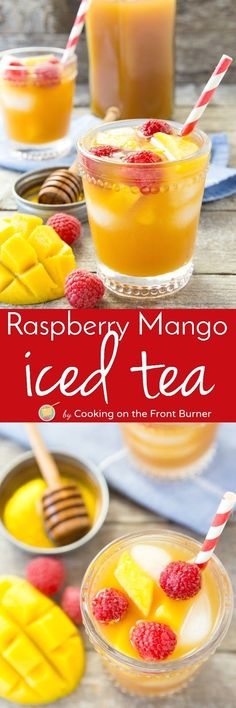 You will love this easy refreshing Raspberry Mango Iced Tea recipe.  Enjoy all summer long! Refreshing Drinks, Mango Drinks, Cold Drinks, Summer Drinks, Fun Drinks, Smoothie Drinks, Healthy Drinks, Beverages, Smoothies