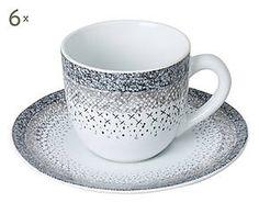 6 Tasses à café STARI, grès - bleu et blanc