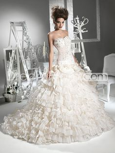 Chic A-line Sweetheart Floor-length Chapel Tiered & Beaded Wedding Dresses