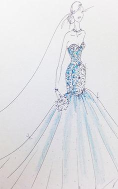 Ariel Wedding Dress Sketch | 2015 Disney's Fairy Tale Weddings by Alfred Angelo Wedding Dress Collection