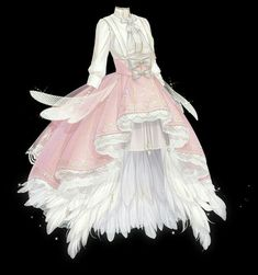 Dress Design Drawing, Dress Drawing, Drawing Anime Clothes, Cosplay Outfits, Anime Outfits, Mode Outfits, Pretty Outfits, Pretty Dresses, Anime Girl Dress