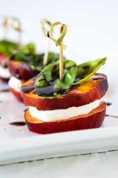 Peach Caprese Appetizer http://www.recipes-fitness.com/peach-caprese-appetizer/