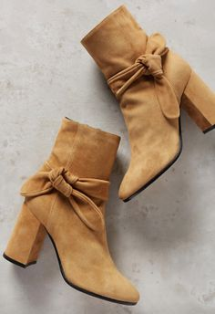 bowed suede ankle booties