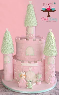 Princess Castle Cake For A Little Girl's First Birthday-Christening