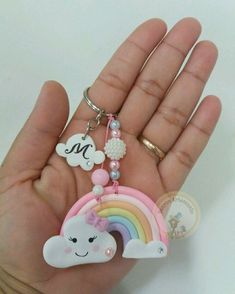 Llavero Polymer Clay Kawaii, Polymer Clay Dolls, Polymer Clay Crafts, Polymer Clay Jewelry, Felt Crafts, Diy And Crafts, Crafts For Kids, Cloud Party, Clay Keychain