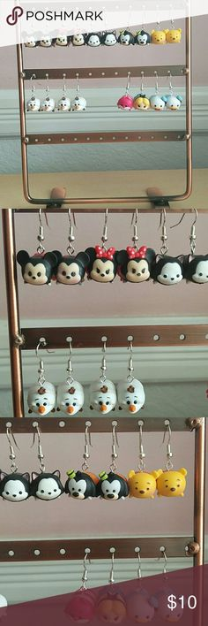 One Pair of Tsum Tsum Dangle Earrings Disney Tsum Tsum Dangle Earrings Price is for One(1) pair of earrings  Handmade with small sized Tsums *Do not purchase if you have a nickel allergy* Disney Jewelry Earrings