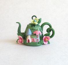 Miniature Cute Fairy Houses Teapot OOAK by C. by ArtisticSpirit