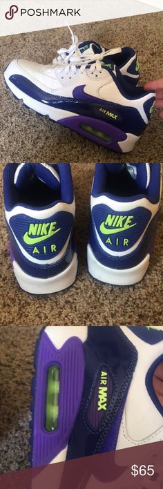 213ab18a Air Max 90 Purple and Green Size 5 Youth Super Vibrant colors still in  great condition I am a women's size 6 and they fit me nicely Nike Shoes  Sneakers