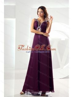 Beading Empire Chiffon Prom Dress V-neck Ankle-length Purple- $152.68  http://www.fashionos.com  discount junior prom pageant dresses for 2013 | purple colored prom dress | natural ankle length prom dress | special occasion prom dresses | tredy autumn prom dress | 2013 sexy prom evening dresses in fleetwood lancashire | sleeveless prom dress with v neck strap | prom dress in monroe connecticut
