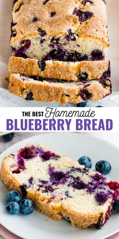 Blueberry Bread is super easy and quick to make from scratch! This moist quick bread is loaded with fresh blueberries and topped with a sprinkle of sugar for some crunch. A perfect quick breakfast for busy mornings that the whole family will love! Köstliche Desserts, Delicious Desserts, Yummy Food, Summer Desserts, Baking Recipes, Cake Recipes, Dessert Recipes, Quick Bread Recipes, Loaf Recipes
