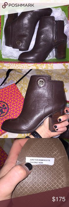 Tory Burch booties Tory Burch junction bootie NEW in the BOX! Only Worn around the house. Great condition, received for a Christmas present and not my style. Brown leather! Tory Burch Shoes Ankle Boots & Booties