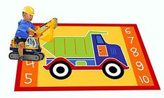 Kids Rug Dump Truck Area Rug 5 x 7 Children Area Rug for Playroom Nursery Non Skid Gel Backing 59 x 82 * You can find more details by visiting the image link. Puzzle Mat, Cross Patterns, Dump Truck, Puzzles For Kids, Kindergarten Classroom, Kidsroom, Our Kids, Playroom, Area Rugs