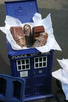 Doctor Who Chocolates & gummies made in a silicone ice cube mold.