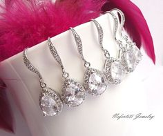 teardrop bridesmaid earring set of 4 by nefertitijewelry2009