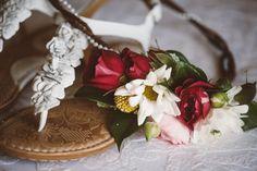 Photo by: Jessi Field Photography #flowercrown #floralcrown #flowerhalo #hairflowers #flowerhairpiece #sprayroses #ranunculus #daisies #billyballs #craspedia #pearls #lovepartywes #JessiFieldPhotography