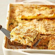 Make this family-pleasing chicken lasagna recipe up to a day in advance to pull out of the fridge and bake the next night. Loaded with chicken, veggies, pasta, AND cheese, it's a full meal in one. No sides required./