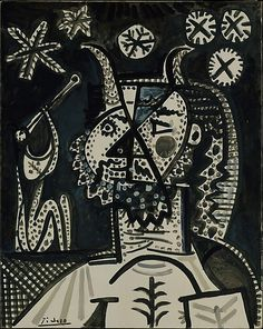 Pablo Picasso Faun with Stars 1955 Oil on canvas Dimensions: 36 x 28 in. x cm) Credit Line: Gift of Joseph H. Hazen, 1970 Accession Number: Rights and Reproduction: © 2016 Estate of Pablo Picasso / Artists Rights Society (ARS), New York Portrait Picasso, Art Picasso, Picasso Drawing, Picasso Paintings, Art History Timeline, Cubist Movement, Georges Braque, Art Moderne, Metropolitan Museum