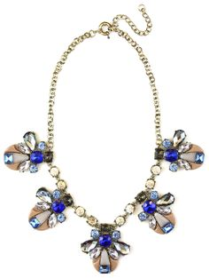 Blue Crystal Charm Strand Statement Necklace #necklace #crystals #blue #sapphire