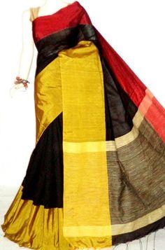 Bright Red and Black Handloom Silk with Gheecha Pallu