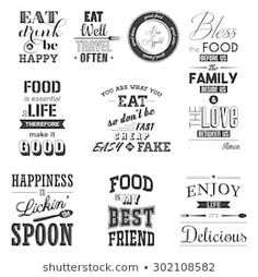 Find Set Vintage Food Typographic Quotes Vector stock images in HD and millions of other royalty-free stock photos, illustrations and vectors in the Shutterstock collection. Thousands of new, high-quality pictures added every day. Wall Paint Inspiration, Rollup Banner Design, Fake Happiness, Vintage Recipes, Vintage Food, Fresh Quotes, Kitchen Quotes, Food Quotes, Before Us