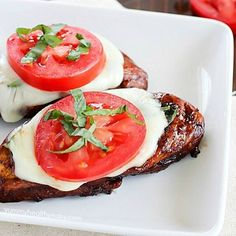 Easy Balsamic Chicken recipe with a caprese twist! Chicken breasts are cooked until tender in a flavorful balsamic sauce then topped with mozzarella, basil & tomato. Low carb and gluten free! Balsamic Chicken Recipes, Chicken Parmesan Recipes, Low Carb Recipes, Cooking Recipes, Healthy Recipes, Healthy Food, Meal Recipes, Dinner Recipes, Healthy Dishes