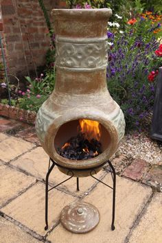 This Mediterranean style chimenea comes complete with steel stand and lid for use in the rain. These chimeneas are hand made and hand painted and therefore shapes, patterns and colours may vary very slightly as each chimenea is unique. We recommend always covering your chimenea when not in use and bringing your chimenea indoors during adverse weather. Clay chimeneas do not need large fires they heat up very quickly and retain the heat for a long time afterwards making it the ideal material…