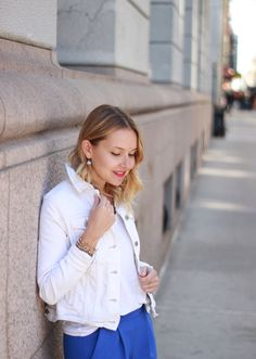 Spring basics - white denim jacket and cropped trousers