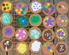 Cardboard cookies for Dramatic Play Center. Children decorate cardboard cookies and open up a cookie shop to sell them!so many things that a cardboard cookie could lead up to!