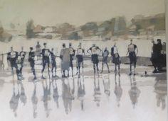 Caroline Yates Speed Skaters Oil on canvas © Artist