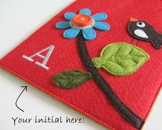 personalized handmade felt case with embroidered initial- $55.00
