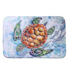 Ouneed 40cm*60cm Happy Gifts High Quality New Design Coral Fleece Sea Turtle Mat Outdoor Indoor Antiskid Decor Doormat Beauty