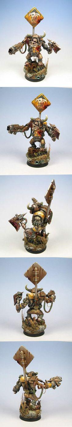 Space-Ork Bad'moonz Nob w/ Eavy-Armour, Choppa & Kustum Mega-Slugga