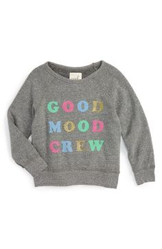 Free shipping and returns on Peek 'Good Mood Crew' Sweatshirt (Toddler Girls, Little Girls & Big Girls) at Nordstrom.com. A glittery, feel-good catchphrase takes center stage on a favorite scoop-neck sweatshirt with a soft, fleecy lining.