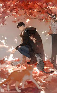 Anime boy with neko Kawaii, The Kings Avatar, Estilo Anime, Korean Art, Image Manga, Handsome Anime, Boy Art, Cute Anime Guys, Anime Scenery