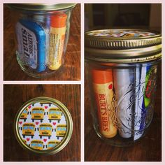Teacher Back to School Mini Survival Kit: Starbucks Gift Card, Small Altoids, Hand Lotion. Burt's Bees Lip Balm, Post It Flags and Shout Towelettes. Top Mason jar with scrapbook paper and custom tag.