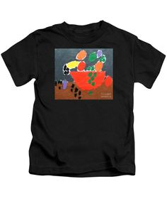 Patrick Francis Designer Kids Black T-Shirt featuring the painting Bowl Of Fruit by Patrick Francis