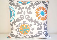 Orange, Turquoise, Grey Floral Dossett Rosa via Etsy