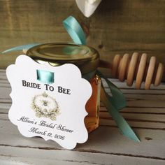 """Honor the bride """"to bee"""" with sweet jars of wildflower honey."""