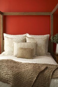 This is a good red, and would go well with cream paintwork. You can find this hue within the Sherwin Williams and/or Benjamin Moore's family of reds: Red Bay or Antique Red BM Tucson Red 1300 or BM Spanish Red Bedroom Red, Home Bedroom, Bed Linens Luxury, Bedroom Orange, Home Decor, Bed, Bed Casual, Remodel Bedroom, Red Rooms