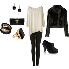 Oh hello, cute outfit with minor fixes I would make. No heels, combat boots instead and a leather jacket.
