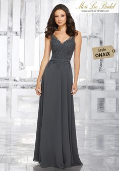 Style ONAIXChiffon Bridesmaids Dress with Embroidered Beaded BodiceElaborate Embroidery and Beading Accents the Bodice of This Beautiful Chiffon Bridesmaids Dress. An Illusion Neckline and Matching Waistband Complete the Look. View Chiffon with Embroidery and Beading Swatch Card for Color Options. Shown in Charcoal.