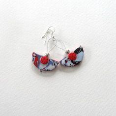 Boucles d'oreille pendantes rouge style aztèque et argent