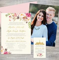 Boho floral wedding invitation with engagement photo printed on the back. Blush pink and gold flowers with gold accents and gold font. LDS wedding announcement with temple icon for the sealing invitation.