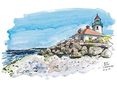 Alki Point beacon, one of Seattle's hidden gems. Watercolor Projects, Pen And Watercolor, Landscape Pavers, Pen And Wash, Landscape Sketch, Artist Journal, Urban Sketching, Art Sketchbook, Sketchers